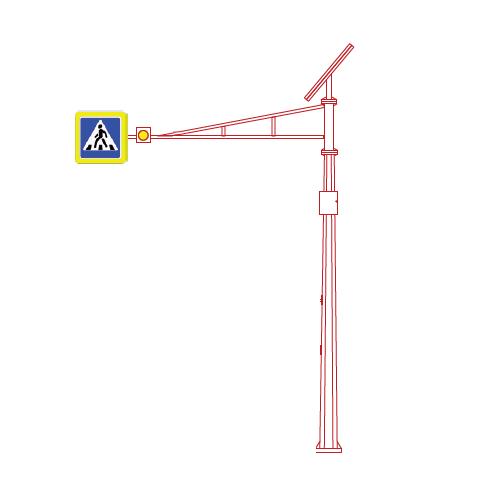 СОД-С-6,5 светофорная опора с солнечной панелью